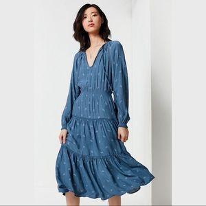 UO Blue Reese Paisley Tiered Smocked Midi Dress